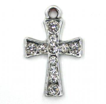 3pcs 18mm x 24mm Crusader cross charm  set in crystal